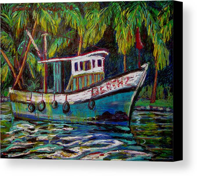 Kerala Canvas Print featuring the painting Kerala Fishing Boat by Art Nomad Sandra Hansen