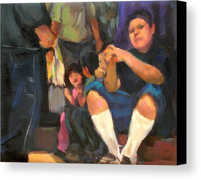 Figurative Canvas Print featuring the painting Kids On The Street by Merle Keller
