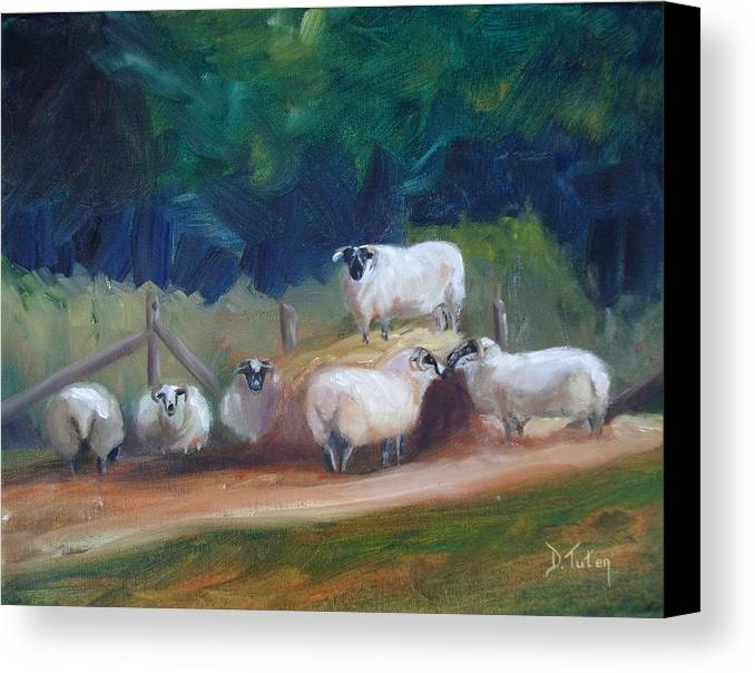 Sheep Canvas Print featuring the painting King Of Green Hill Farm by Donna Tuten