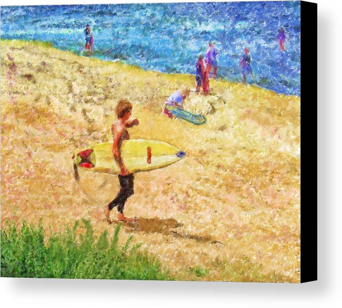 Surfers Canvas Print featuring the mixed media La Jolla Surfers by Marilyn Sholin