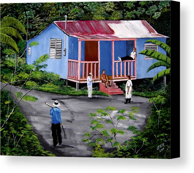Campo Canvas Print featuring the painting La Vida En Las Montanas De Moca by Luis F Rodriguez