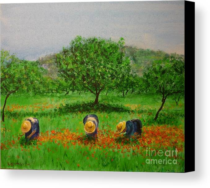 Club Diario De Ibiza Canvas Print featuring the painting Ladies In Poppy Fields Ibiza by Lizzy Forrester
