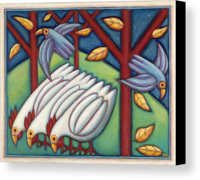 Whimsical.animal Canvas Print featuring the painting Ladies Night Out by Mary Anne Nagy