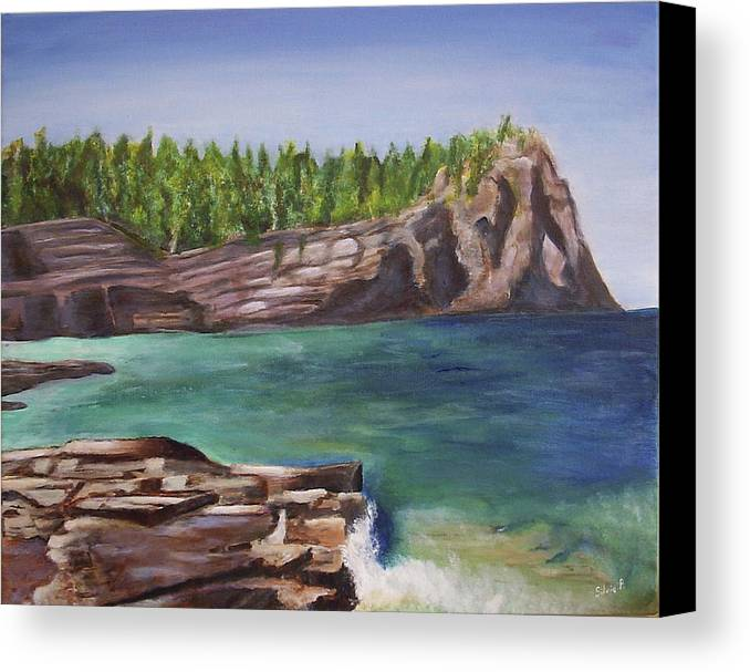 Seascape Canvas Print featuring the painting Lake Huron by Silvia Philippsohn