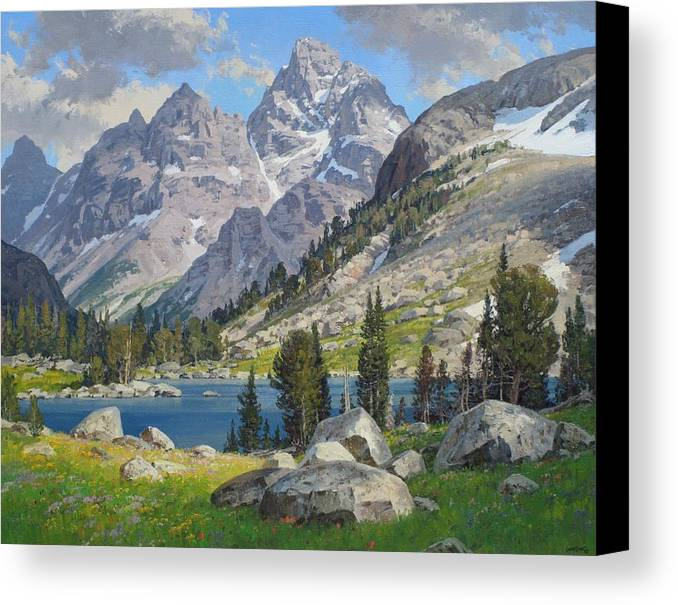 Landscape Canvas Print featuring the painting Lake Solitude by Lanny Grant