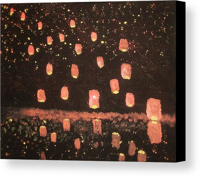 Lanterns Canvas Print featuring the painting Lanterns by Vale Anoa'i