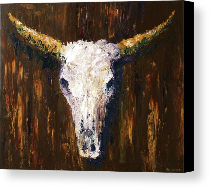 Large cow skull acrylic palette knife painting canvas for Palette knife painting acrylic