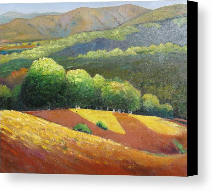 Ca Hills Canvas Print featuring the painting Last Kiss Of Sunshine by Gary Coleman