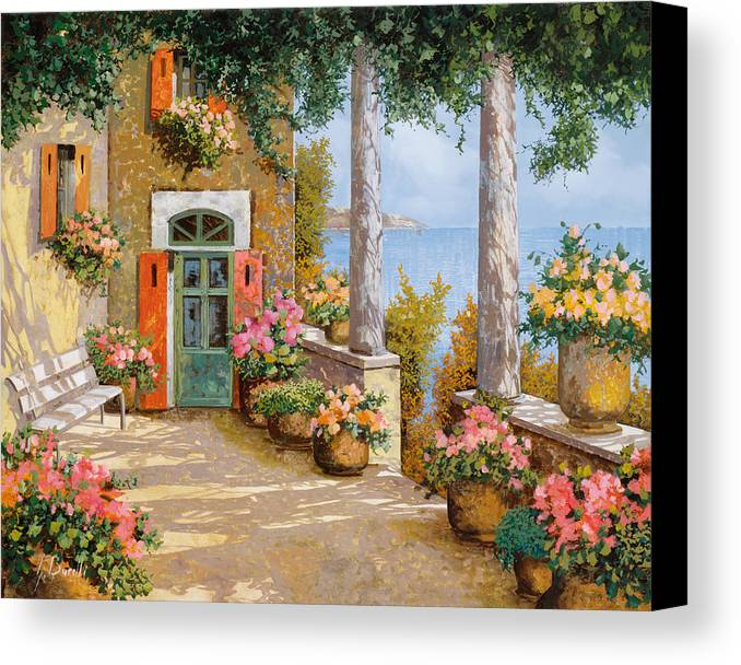 Terrace Canvas Print featuring the painting Le Colonne Sulla Terrazza by Guido Borelli