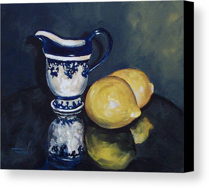 Cream Canvas Print featuring the painting Lemons And Cream by Torrie Smiley