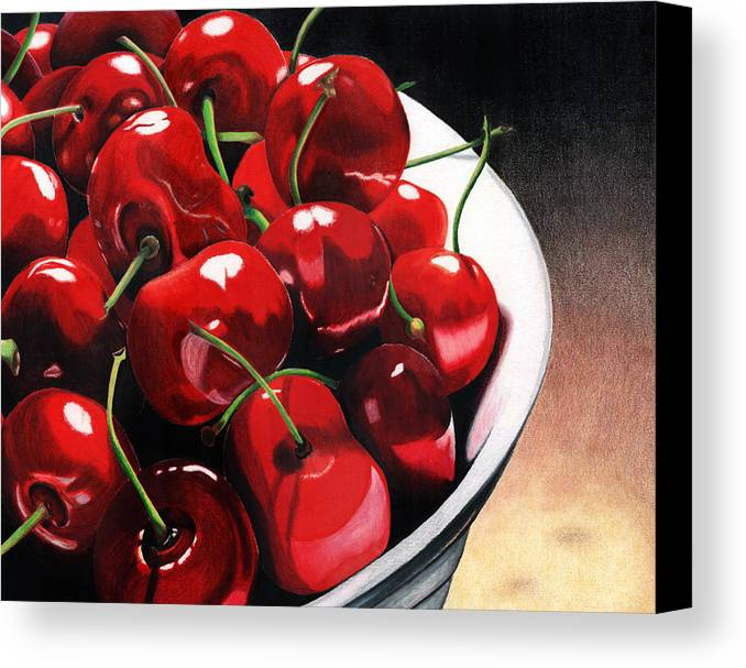 Cherries Canvas Print featuring the painting Life Is.... by Angela Armano