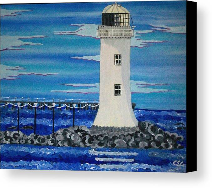 Lighthouse Canvas Print featuring the painting Lighthouse On The Shannon by Carolyn Cable