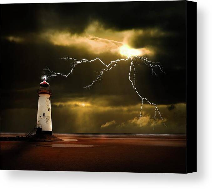 Lighthouse Canvas Print featuring the photograph Lightning Storm by Meirion Matthias