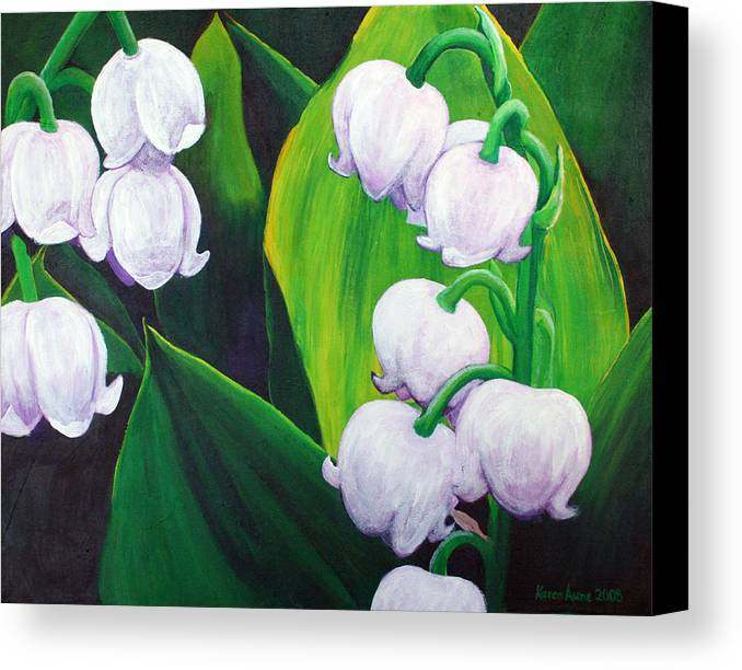 Lily Of The Valley Canvas Print featuring the painting Lilies Of The Valley by Karen Aune