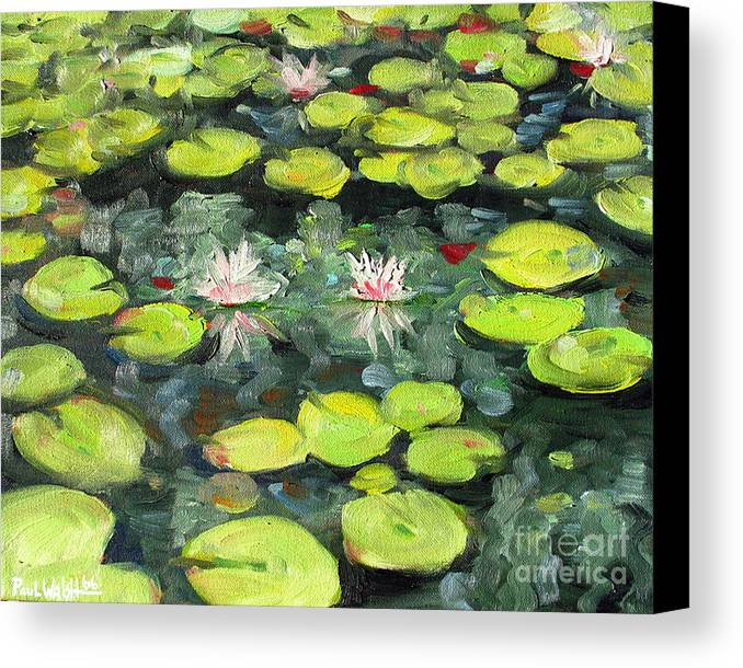 Pond Canvas Print featuring the painting Lily Pond by Paul Walsh