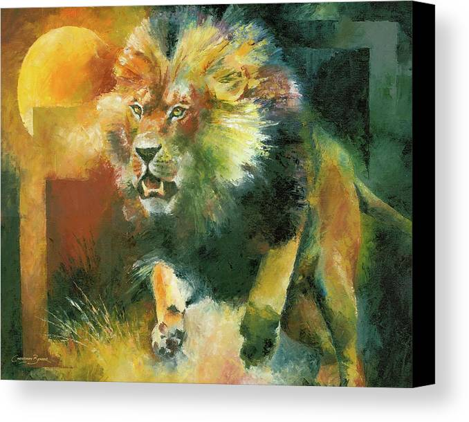 Charging Canvas Print featuring the painting Charging Lion by Christiaan Bekker