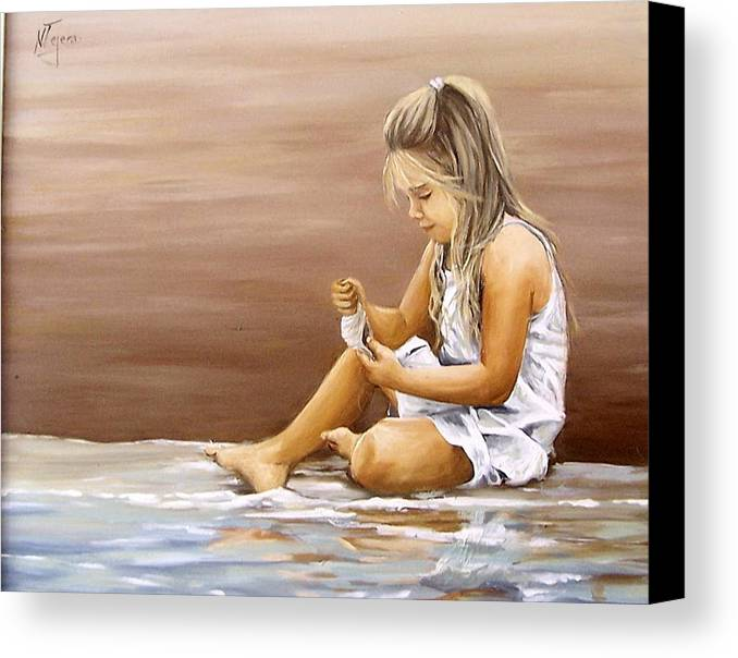 Children Girl Sea Shell Seascape Water Portrait Figurative Canvas Print featuring the painting Little Girl With Sea Shell by Natalia Tejera