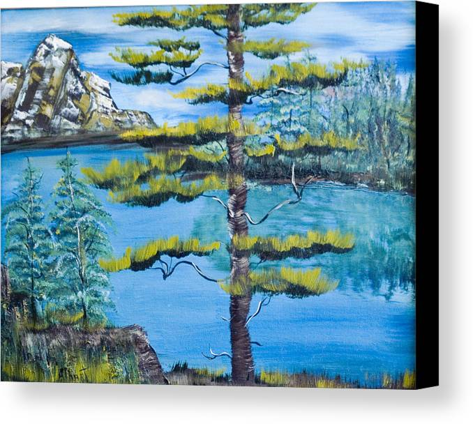 Landscape Canvas Print featuring the painting Lone Pine by Mikki Alhart