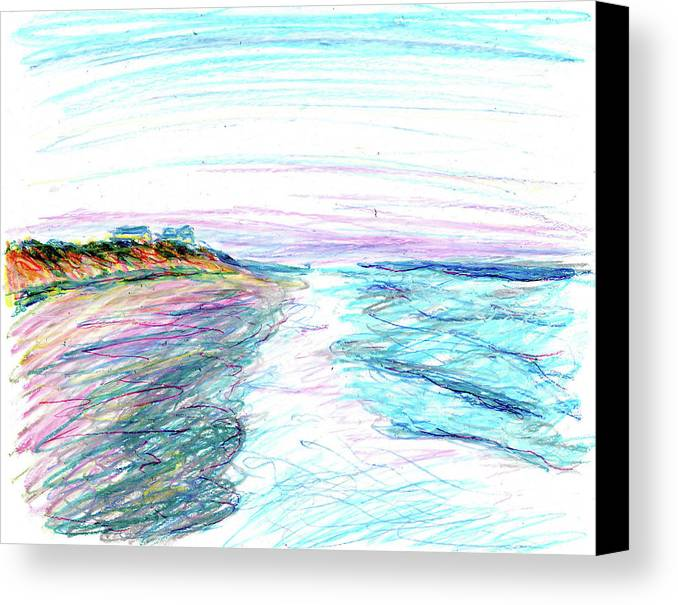Beach Canvas Print featuring the painting Looking Up The Beach by Christopher O'Kelley