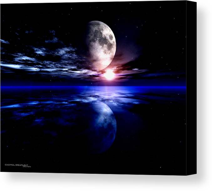 Moon Canvas Print featuring the digital art Loom by Dreamlight Creations