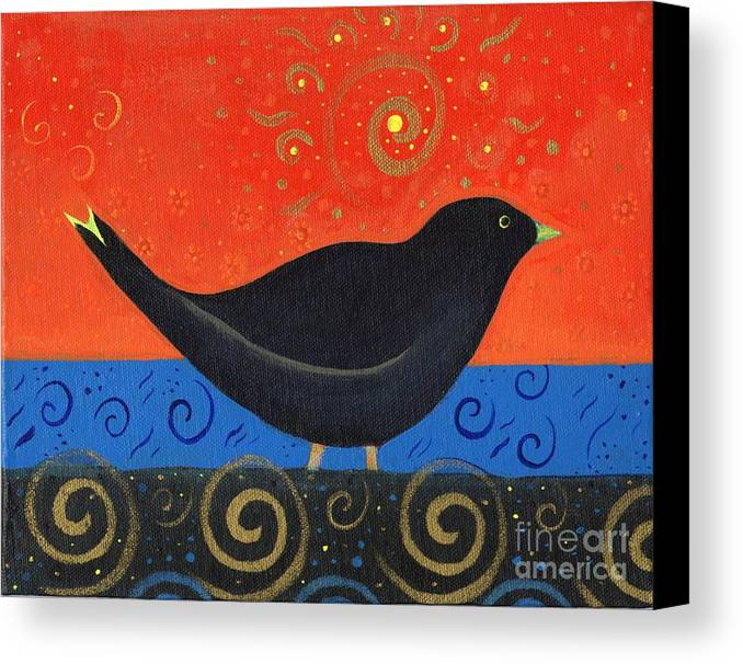 Black Bird Canvas Print featuring the painting Love Of Birds by Helena Tiainen