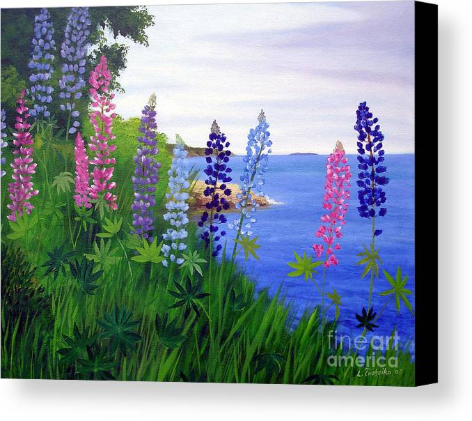 Wildflowers Canvas Print featuring the painting Maine Bay Lupine Flowers by Laura Tasheiko