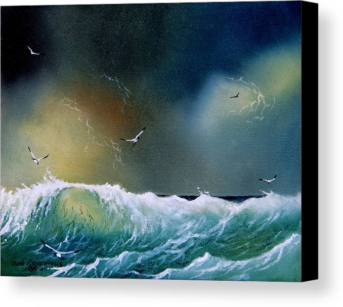 Water Canvas Print featuring the painting Majestic Wave by Don Griffiths