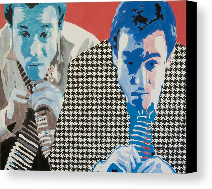 Portrait Canvas Print featuring the painting Man In A Houndstooth Suit by Pete Nawara