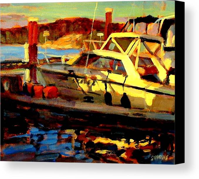 Boat Paintings Canvas Print featuring the painting Marina Sunset by Brian Simons