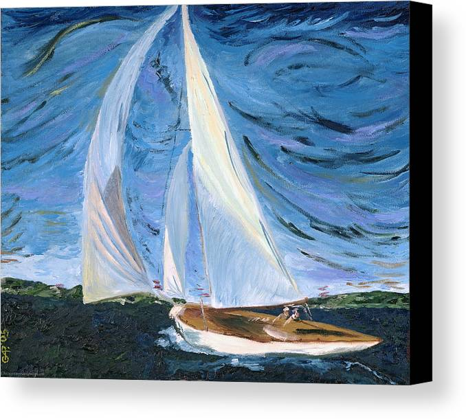 Sailboat Canvas Print featuring the painting Marriage by Gregory Allen Page