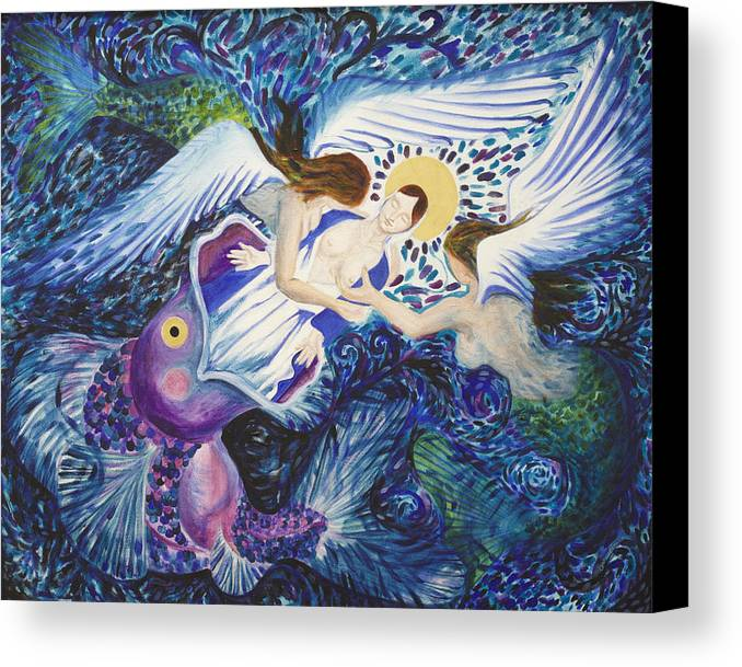 Mary Angel Mermaid Fish Sea Dream Hail Canvas Print featuring the painting Mary Comes Home by Sophy White