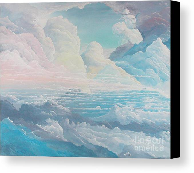 Cloudscape Canvas Print featuring the painting May Colored Clouds by John Wise
