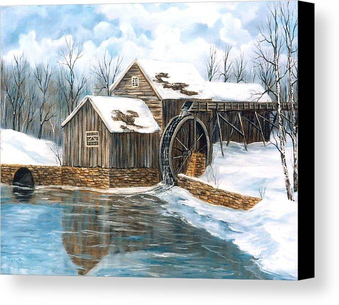 Painting Landscape Canvas Print featuring the painting Maybry Mill by Marveta Foutch