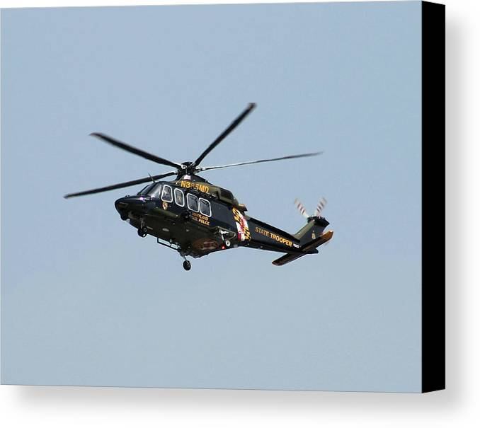 Helicopter Canvas Print featuring the photograph Md State Police Helicopter by Robert Banach