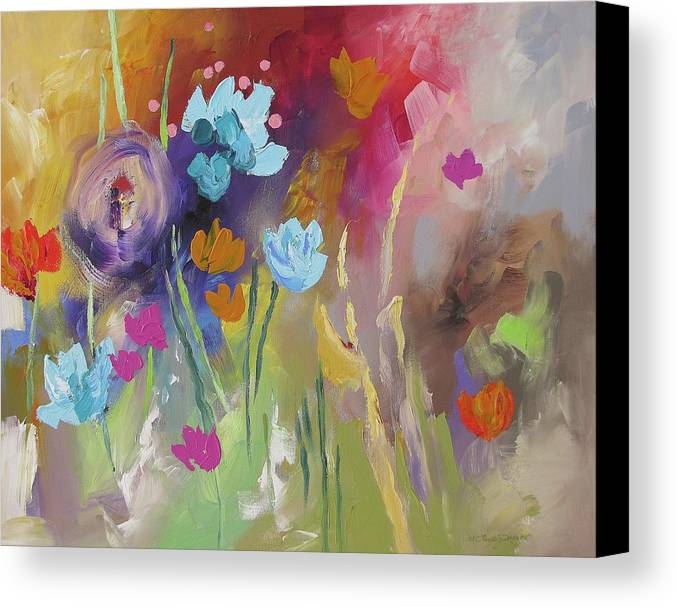 Original Canvas Print featuring the painting Meet Me In The Garden by Linda Monfort
