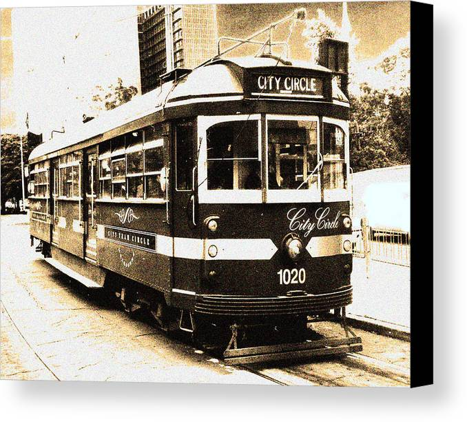 Sepia Canvas Print featuring the photograph Melbourne Tram by Darren Stein