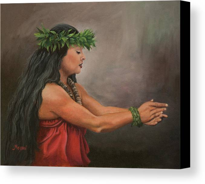 Hula Canvas Print featuring the painting Mele by Megan Collins
