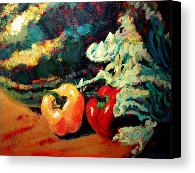 Still Life Paintings Canvas Print featuring the painting Melon by Brian Simons