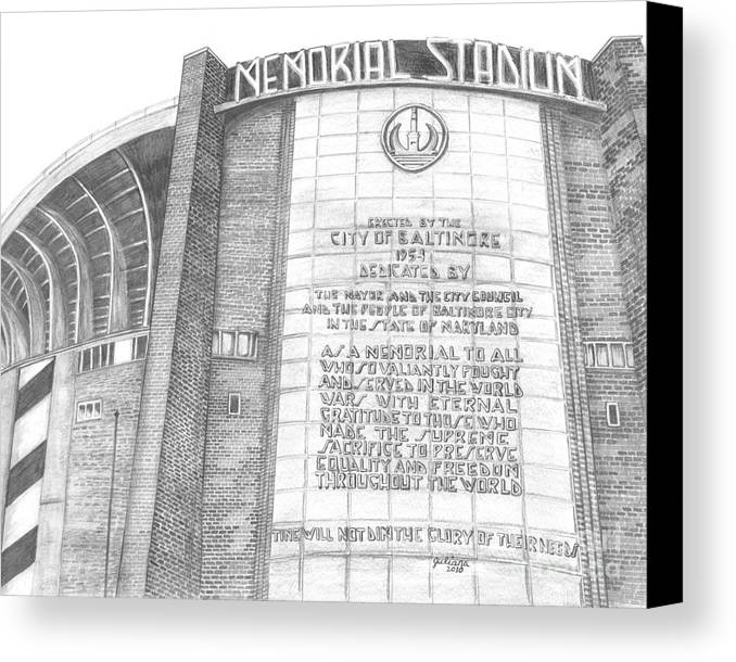 Baltimore Orieols Stadium Canvas Print featuring the drawing Memorial Stadium by Juliana Dube
