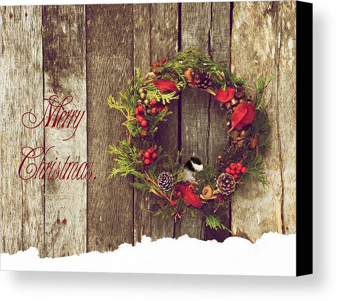 Country Canvas Print featuring the photograph Merry Christmas. by Kelly Nelson