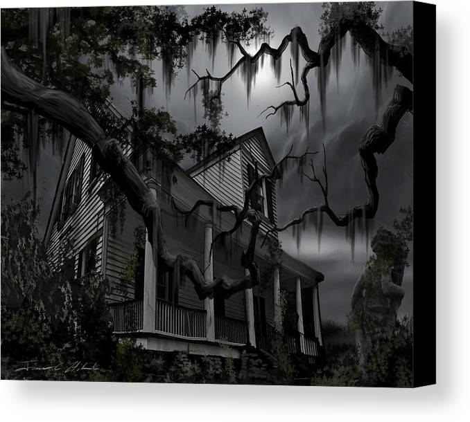Ghosts Canvas Print featuring the painting Midnight In The House by James Christopher Hill