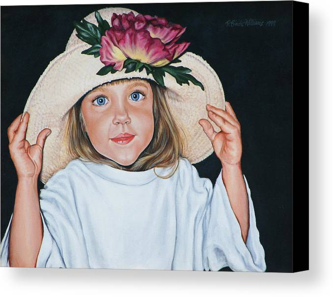 Portrait Canvas Print featuring the painting Mommy's Hat by Penny Birch-Williams
