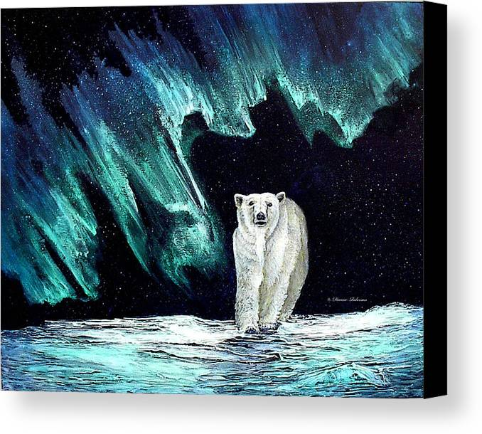 Bear Canvas Print featuring the painting Monarch Of His Arctic Domain by Dianne Roberson