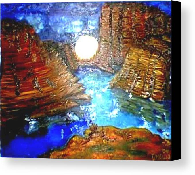Moon Canvas Print featuring the print Moon In The Grand Canyon by Tanna Lee M Wells