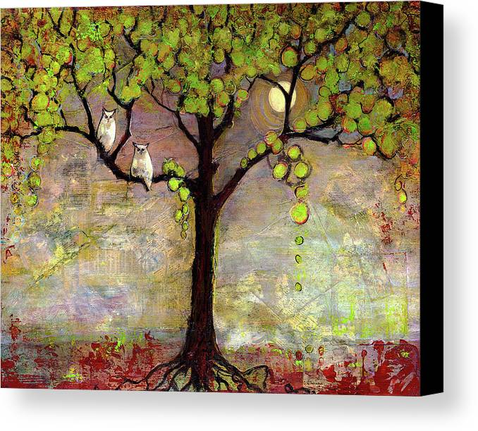 Paintings Canvas Print featuring the painting Moon River Tree Owls Art by Blenda Studio