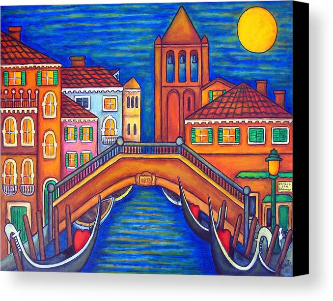 Moonlit Canvas Print featuring the painting Moonlit San Barnaba by Lisa Lorenz