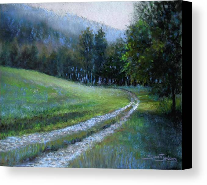 Landscape Canvas Print featuring the pastel Morning On Blue Mountain Road by Susan Jenkins