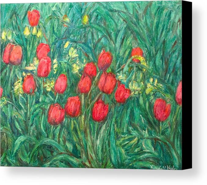 Kendall Kessler Canvas Print featuring the painting Mostly Tulips by Kendall Kessler