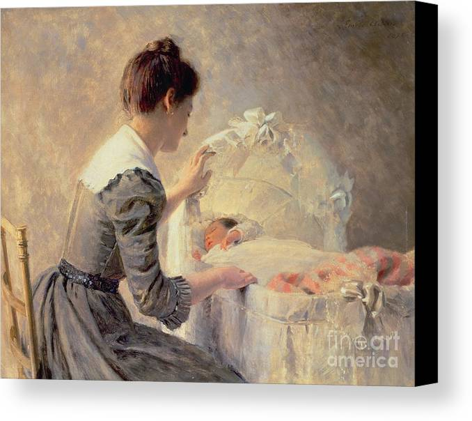Motherhood Canvas Print featuring the painting Motherhood by Louis Emile Adan