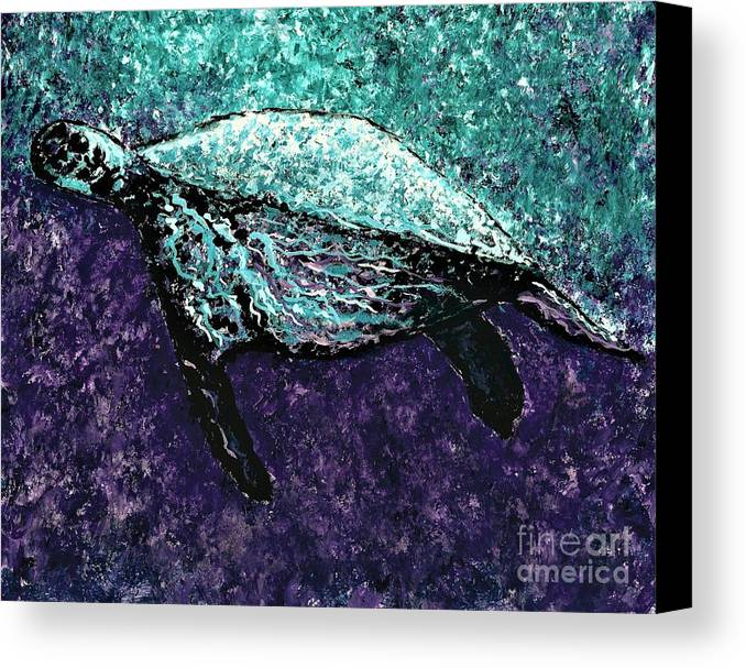 #seaturtle #turtle #2d #abstract #abstractart #abstractimpressionist #acrylic #art #artist #artistsoninstagram #artistsontwitter #artoftheday #artshow #artofvisuals #beautiful #beauty #collectart #colorful #colors #contemporaryart #creativity #expressionism #fineart #followart #idratherbeinnature #greenliving #iloveart #interiordesign #landscape #landscape_captures #liveauthentic #livewithart #luxury #luxuryliving #modernart #nature #natureaddict #newartwork #ocean #pop #surrealism #sustainable Canvas Print featuring the painting Mottled Sea Turtle by Allison Constantino